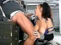 Milf shoves big dick down her troat