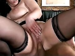 Busty mom hungrily sucks hard cock