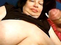 Guys jizzing on big tits of mature