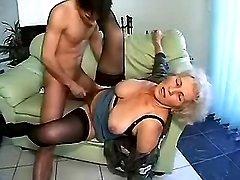 Young hot stud fucks ugly granny