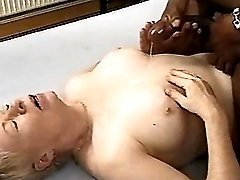 Granny gets cum from big black cock