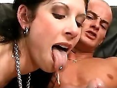 Lewd milf sucks out cum after anal