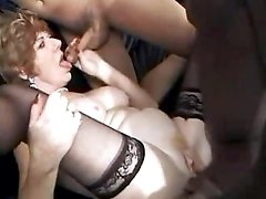 Grandma in awesome orgy