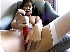 Mom treating her cunt with vibrator