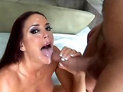 Milf gets her cute face cum blasted