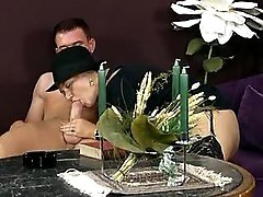 Old whore in black hat does blowjob
