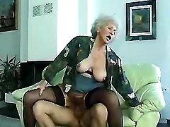 Aged grandma sex on sofa