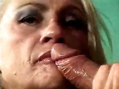 Lustful blonde mature makes blowjob