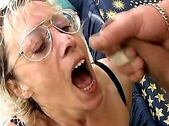 Granny fucks and gets cum on tongue