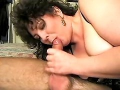 Aged chubby whore strips and sucks