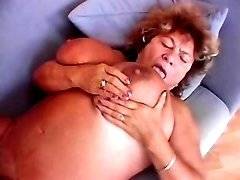Granny eats cum off her huge breast