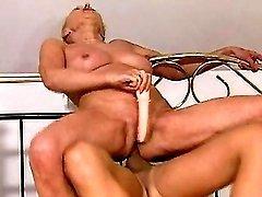 Granny takes dick n dildo