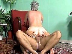 Lusty plump granny rides hard cock