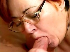 Lewd granny rides young strong cock