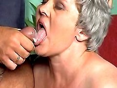 Chubby grandma gets cum in mouth
