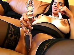 Hot latin mature prefers huge dildo