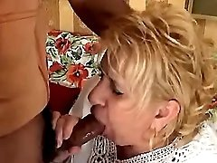 Fat old hag sucks hard cock of guy