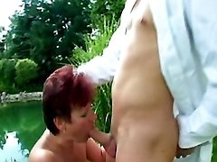 Redhead mature sucks cock of doc