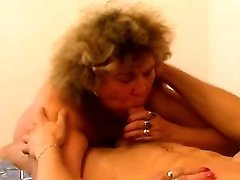 Curly fat granny titfucks