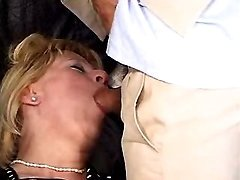 Lewd old maid licked and sucks cock