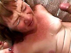 Granny get facial in orgy