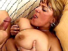 Plump mature gets cum on huge boobs