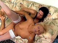 Guy drills skinny granny on sofa