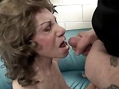 Aged lady sucks cock and gets cum