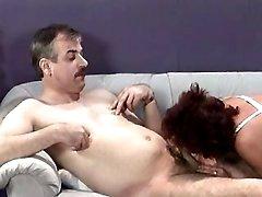 Lusty granny licked and sucks cock