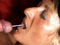 Busty granny eats hot cum