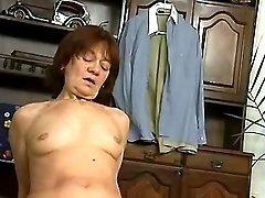 Lustful granny sucks cock on floor