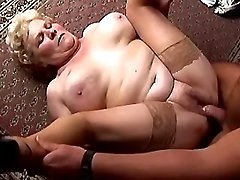 Chubby granny crazy fucked on floor