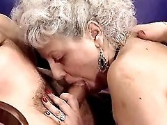 Grandma and mature share hard cock