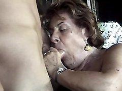 Plump granny spoils guy on hayloft