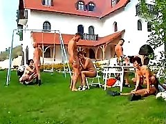 Matures gangbang on lawn