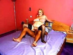 Chesty lusty granny rides hard cock