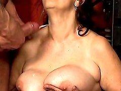 Grandma gets cum on rumpled tits