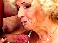 Old lady eats cum in orgy