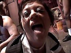 Nasty granny serves chocolate dicks