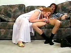 Redhead grandma sucks