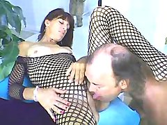 Man licks pussy of milf in fishnet n gets blowjob