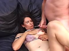 Brunette milf gets cum on tits after fuck on sifa