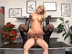 Blonde mature sucking n jumping on cock in office