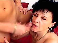 Brunette mature fucking with guy n getting facial