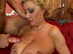 Busty hot mature fucks from behind in hotel suite