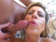 Beauty lewd mature gets facial after hot gangbang