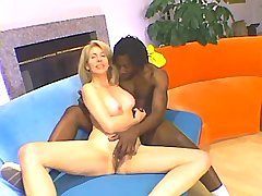 Blonde mature plays with dildo n sucks black dick