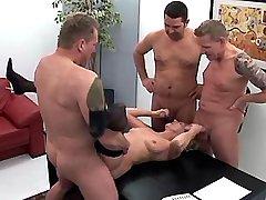Blond mature sucks dicks and fucks with three guys