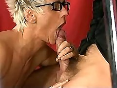 Blonde mature in stockings gets fuck in all holes