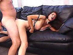 Cutie mature sucks and fucks on big leather sofa